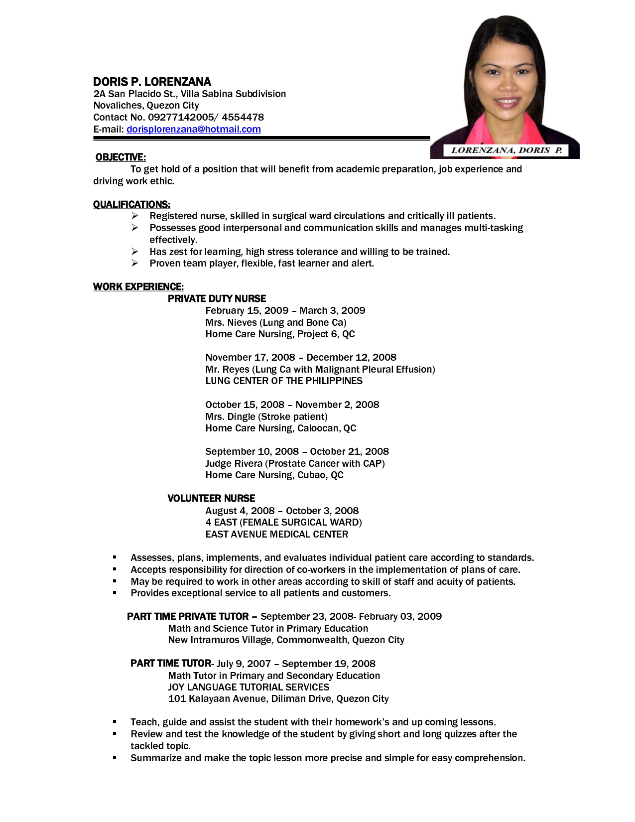 Example of resume format for job
