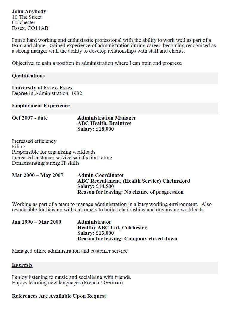 Sample resume for someone who has never worked