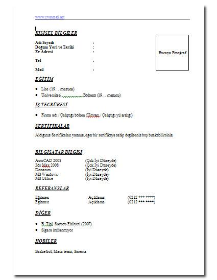 Sekreter Cv Örnegi | Resimli Cv Örnekleri - Cv Örnekleri