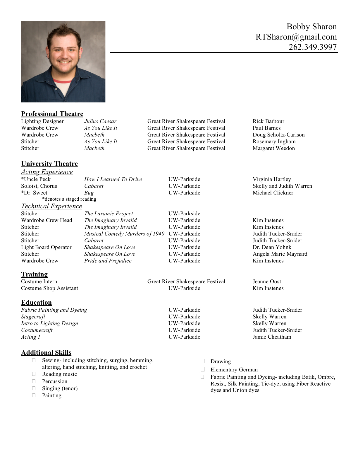 format for writing a resume