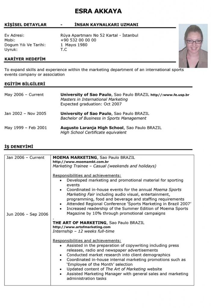 RESUME – EXAMPLE ONLY